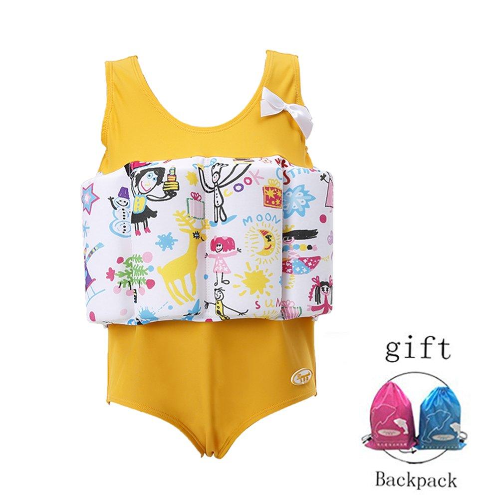 Lemandii One-Piece Children Buoyancy Swimsuit Swim Vest Detachable Float Swimwear, Perfect for Kids or Baby Learn to Swimming (Yellow, L)