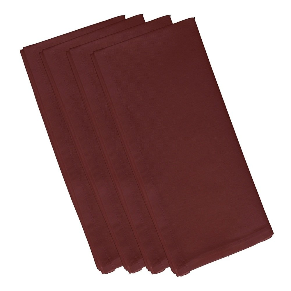 4 Piece Mahogany Dinner Napkin, (Set Of 4), Solid Pattern, Classic And Contemporary Style, Square Shape, Good Qualitie, Everyday Or Special Occasions, Decorative, Cotton Material, Berry Red, Ruby