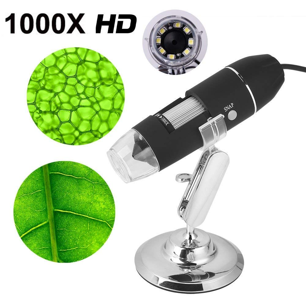 1000X Magnification Endoscope, 8 LED USB Digital Microscope, Mini Camera with Metal Stand, Compatible with Mac Windows MAGNIFIER