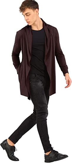 Katesid Mens Shawl Collar High-Low Hem Long Cardigan Open Side Pockets Casual Overcoat