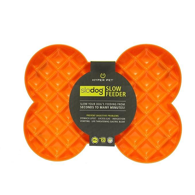 Hyper Pet Slow Feeder Dog Feeding Bowl, Orange