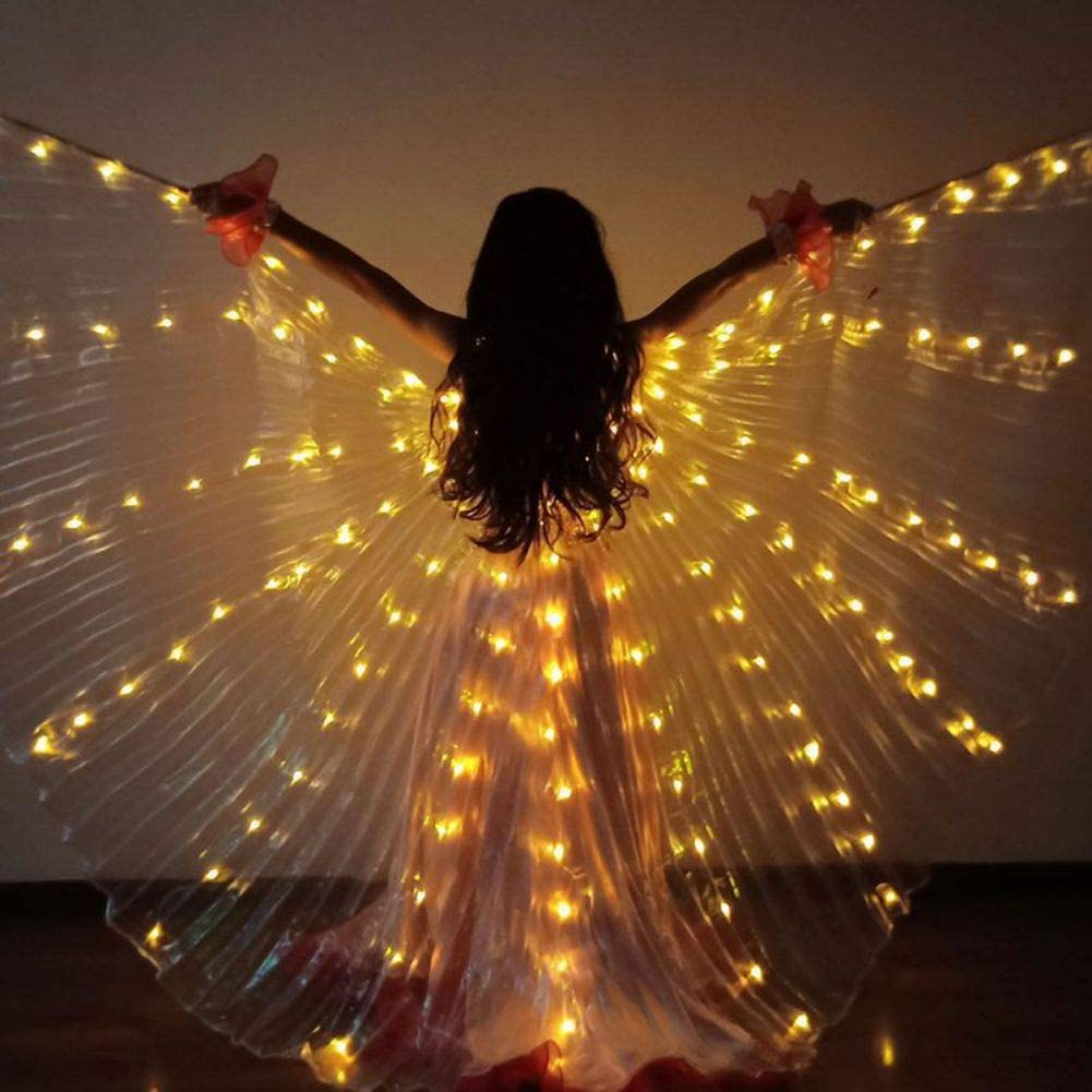 Kids Colorful LED Light Dance Wing Dance Belly Costume Performance Glow in The Dark Butterfly Cloak