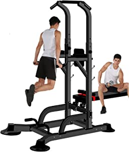 aiyu Power Tower Dip Station, Pull Up Bar with Bench Exercise Equipment, Height Adjustable Pull Up Tower for Home Gym Office Strength Training, Support Up to 1100LBS