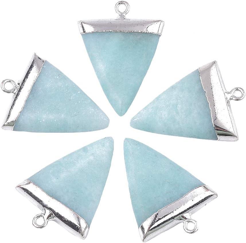 CHGCRAFT 5pcs Encantos del Triángulo de Amazonita con Hallazgos de Hierro de Platino Electrochapado Sodalita Colgantes de Piedra Natural para Mujeres Pulseras de Collar Fabricación de Joyas