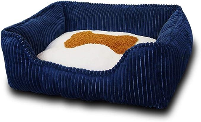 Mofech ペット ベッド 犬 猫 ベッド マット ソファー クッション 洗える 犬用 猫用 夏 冬用 ふんわり 滑り止め 肌触りのよい 柔らかい 通年タイプ 小中大型犬用 ブルー S