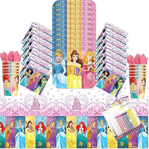 Disney Princess Party Tableware (Disney Princess Dream Big Party Plates Napkins Cups and Table Cover Serves 16 with Birthday Candles - Disney Princess Party Supplies Pack Deluxe (Bundle for)