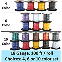 18 Gauge Primary Wire Assortment. Choice of 4, 6 or 10 Rolls Bundle, 100 FT per Roll. Copper Clad Aluminum Cable Great for Audio Speaker Automotive Trailer Signal Light Wiring. 10 Color Selections