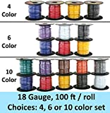 GS Power's 18 Gauge Ga, 4 Rolls of 100 Feet (total of 400 ft) Car Audio Video Electrical Primary Remote Turn on Hook up Trailer Wire ( Cable Color Set: Black Red Blue Yellow )