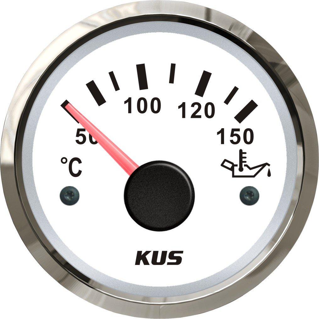 150/℃ avec r/étro-/éclairage 12/V//24/V 52/mm Kus Huile Temp Indicateur de jauge de temp/érature M/ètre 50 5,1/cm