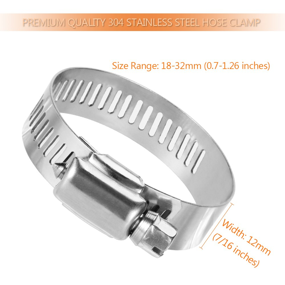 20 Pack Stainless Steel Adjustable 6-12mm Size Range Worm Gear Hose Clamp LOKMAN Hose Clamp Fuel Line Clamp for Plumbing Automotive and Mechanical Application