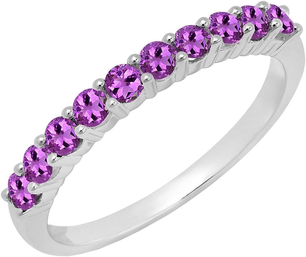 Dazzlingrock Collection 10K Round Gemstone Ladies Stackable Anniversary Wedding Band, White Gold