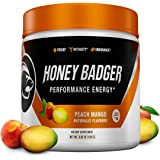 Honey Badger Performance Energy Natural Pre Workout for Men & Women (Peach Mango, 30 Servings, Sugar Free, Sucralose Free, Na