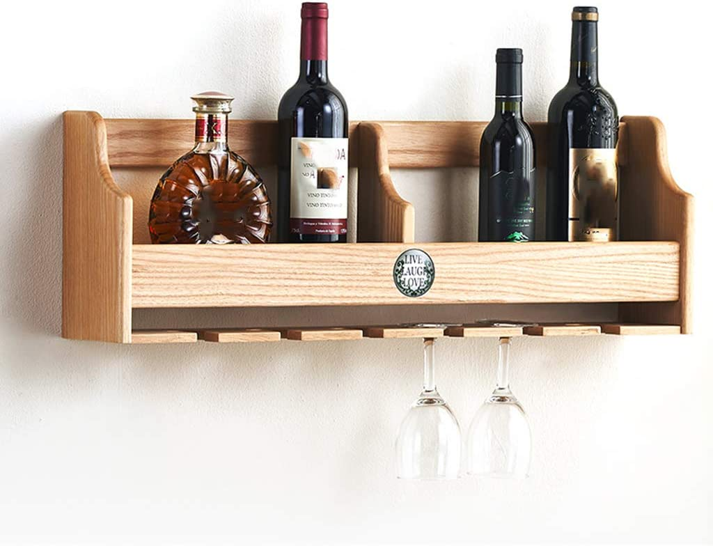 Modern Wall Mounted Wood Wine Bottles Rack with Hanging Stemware Glasses Holder, Simple Wooden Creative Wine Cabinet for Home Kitchen Decor