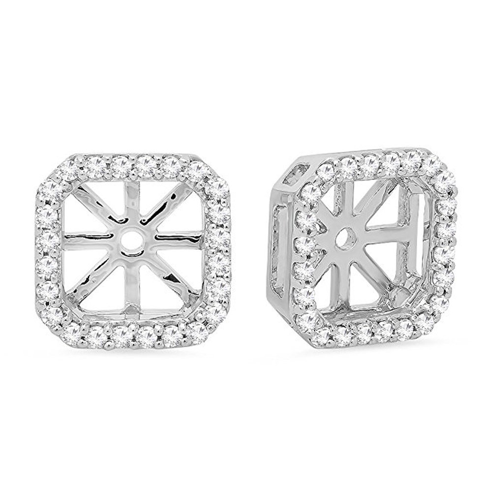 0.26 Carat (ctw) 14K Gold Round White Diamond Removable Jackets For Stud Earrings 1/4 CT (white-gold) by DazzlingRock Collection