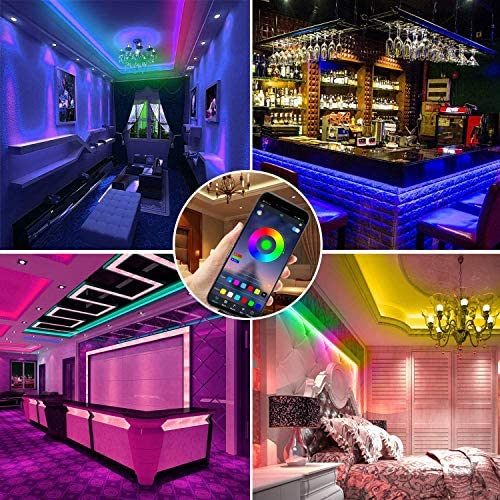 LED Strip Lights, 52FT RGB LED Light Strips, 16 Million Colors Changing with Phone APP Control, LED Lights for Bedroom, Kitchen, Party, DIY Decoration