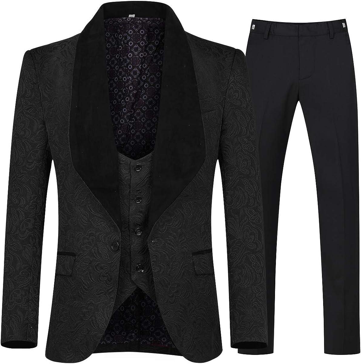 YFFUSHI Men's 3 Piece Max 79% OFF Suit Slim Tuxedo One Free shipping Fit Jacquard Button S