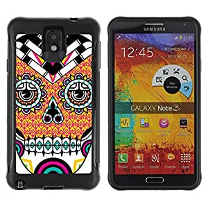 Hybrid Anti-Shock Defend Case for Samsung Galaxy Note 3 / Cool Neon Sugar Skull Tattoo