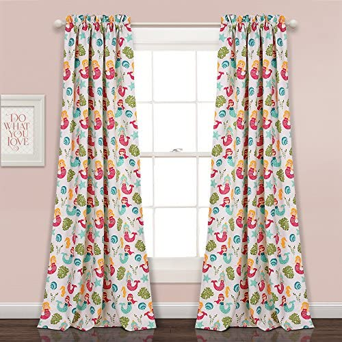Lush Decor Lush D cor Mermaid Waves Room Darkening Window Curtain Panel Pair