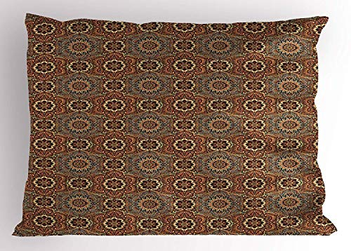 (K0k2t0 Ethnic Pillow Sham, Middle Eastern Arabian Style Ottoman Flower Scroll Turkish Old Fashioned Bohemian, Decorative Standard Queen Size Printed Pillowcase, 30 X 20 inches, Multicolor)