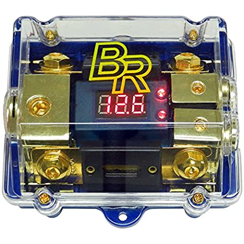 Bass Rockers Distribution Block 0GA to 2x4GA w/ 2 ANL Fuses & Digital Display (ANLFH02D) (Car Audio Digital Fuse)