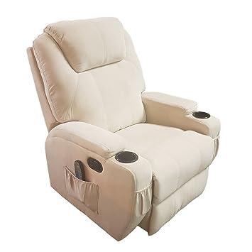 Phenomenal Burlington Manual Recliner Chair Heat Massage In Fabric Beige Alphanode Cool Chair Designs And Ideas Alphanodeonline