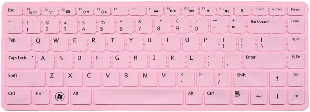 Silicone Laptop Keyboard Cover Skin Protector for Dell XPS L502 L502x, Inspiron M5040 N5040 N5050 N4110 N4120 N4050 N411z 7520 5420, Vostro 3350 V3350 3450 V3450 V3460 3550 3555 V1440 V1450 V131 (Light Pink)