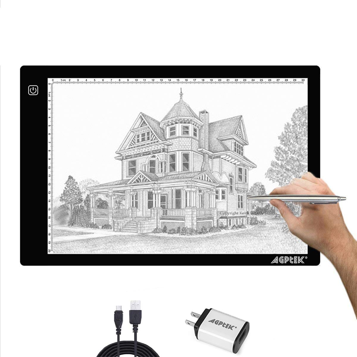AGPtek A4 Ultra-thin Portable LED Artcraft Tracing Light Pad USB Cable + Wall Adapter Powered Brightness Control For Artists, Drawing, Sketching, Animation, X-ray Viewing, Sewing, Tattoo, Quilting by AGPTEK