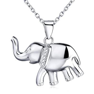 Amazon good luck elephant necklace sterling silver elephant good luck elephant necklace sterling silver elephant pendant necklace jewelry with gifts box aloadofball Image collections