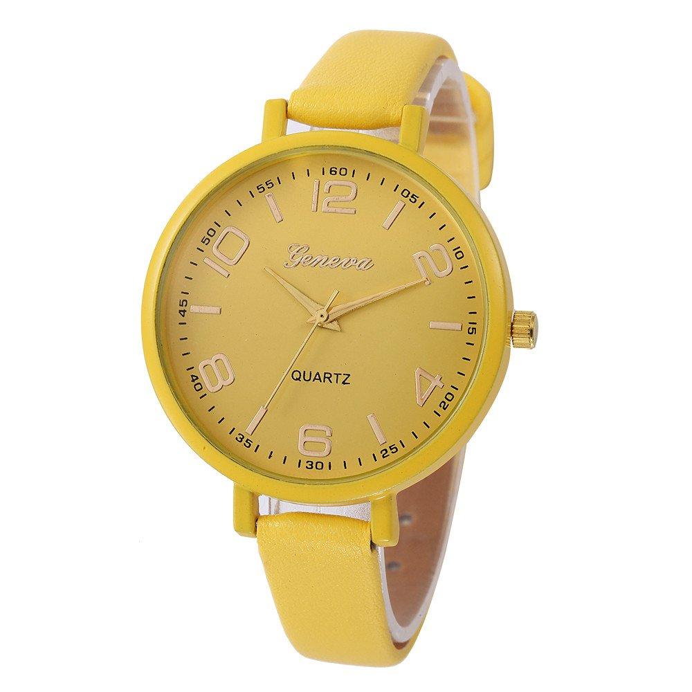 JiaMeng Relojes Pulsera Mujer, Cuero PU Reloj de Pulsera Casual de Cuarzo analógico Casual Checkers(Amarillo): Amazon.es: Ropa y accesorios