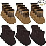 Square Chair Leg Caps for Hardwood Floors Chair Socks, Outgeek 24 Pcs Knitted Furniture Feet Socks Chair Leg Floor Protectors (Brown and Coffee)