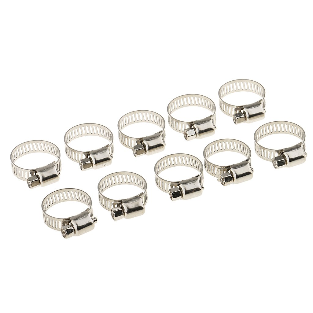 MagiDeal 10x 3/4-1 Adjustable Stainless Steel Drive Hose Clamp Fuel Line Worm Clip