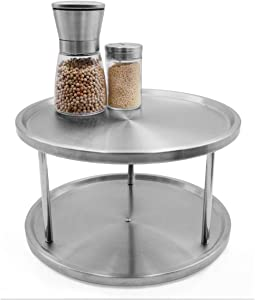 Famgee Stainless Steel 2-Tier Lazy Susan 360 Degree Turntable Revolving Swivel Kitchen Bathroom Worktop Rotatable Shelving Shelf Organizer Tabletop Stand Spice Rack