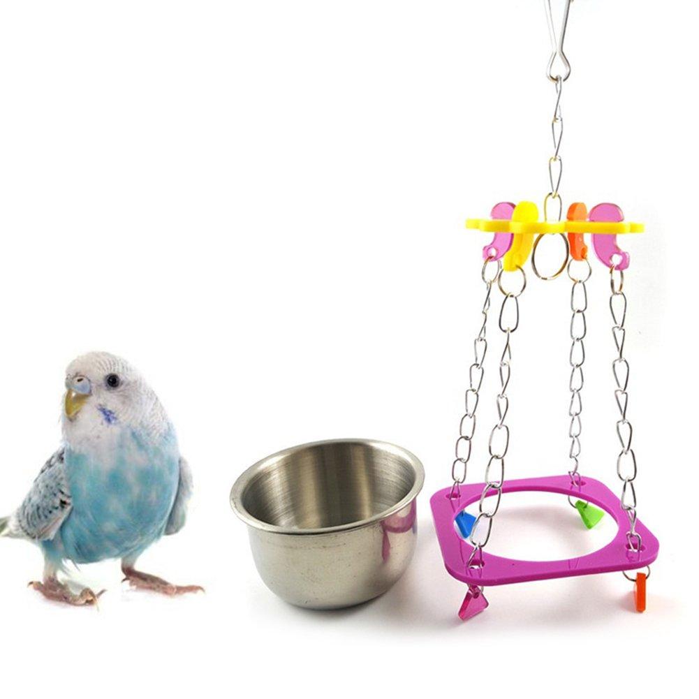 Creative Parrot Bird Food Feeder Water Bowl Pot Practical Swing Hanging Pet Chain Toys Brave669
