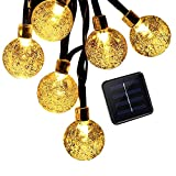 mieres Decoration Lights, Solar String lights, 30 LED Starry String Light with Crystal Ball Covers, Waterproof Security Solar Light for Christmas, Holiday, Party