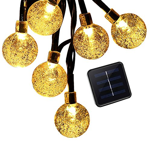 LS-EPOCH Solar String lights,30 LED Starry String Light with Crystal Ball Covers,Waterproof Security Solar Light for Christmas ,Holiday,Party (Warm - Wrap Gift Ball