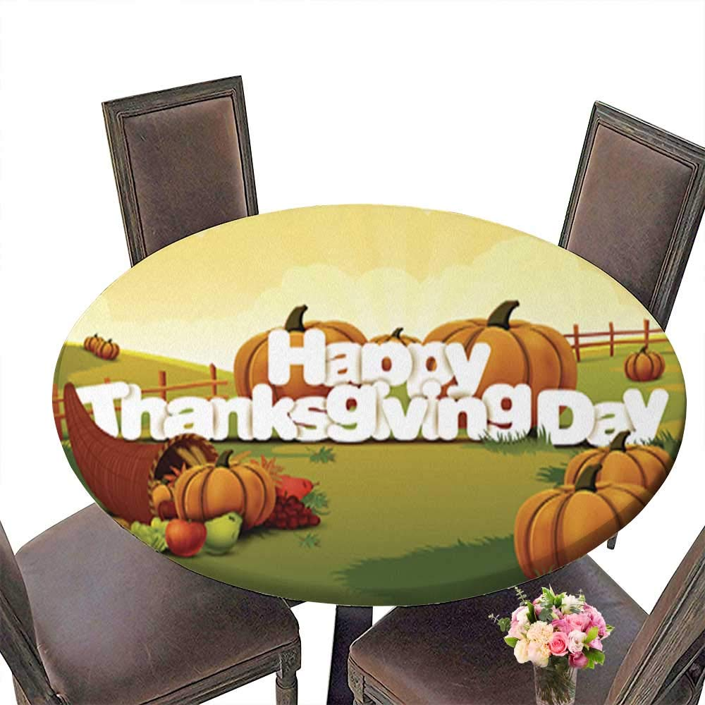 Polyester Happy Thanksgiving Wallpaper Background Spillproof Fabric Round Tablecloth up to 31.5''-33.5'' Diameter