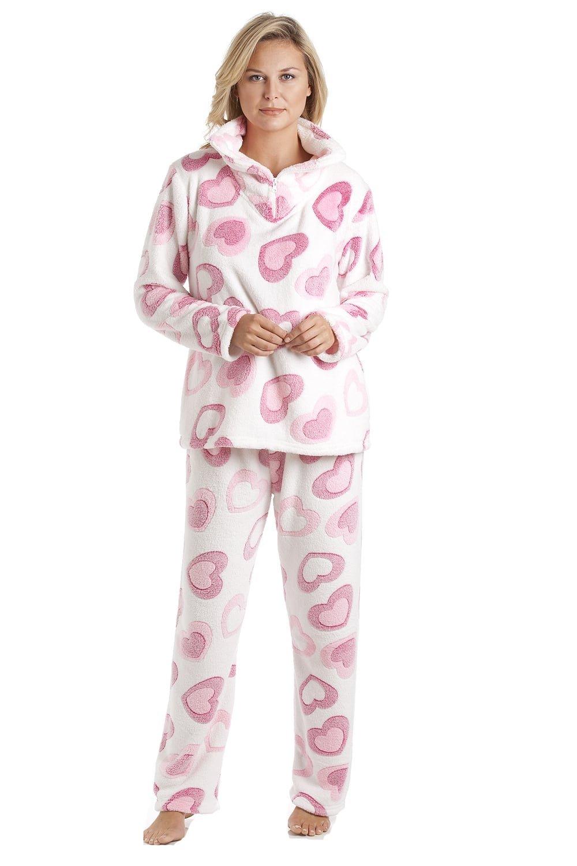 Conjunto de pijama - Forro polar suave - Estampado de corazones rosas - Blanco product image