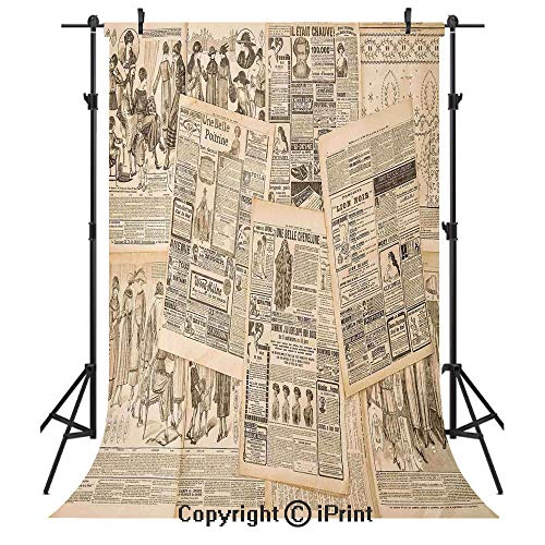 (Antique Decor Photography Backdrops,Newspaper Pages with Advertising and Fashion Magazine for Woman Edwardian Publicity Image,Birthday Party Seamless Photo Studio Booth Background Banner 5x7ft,Cream)