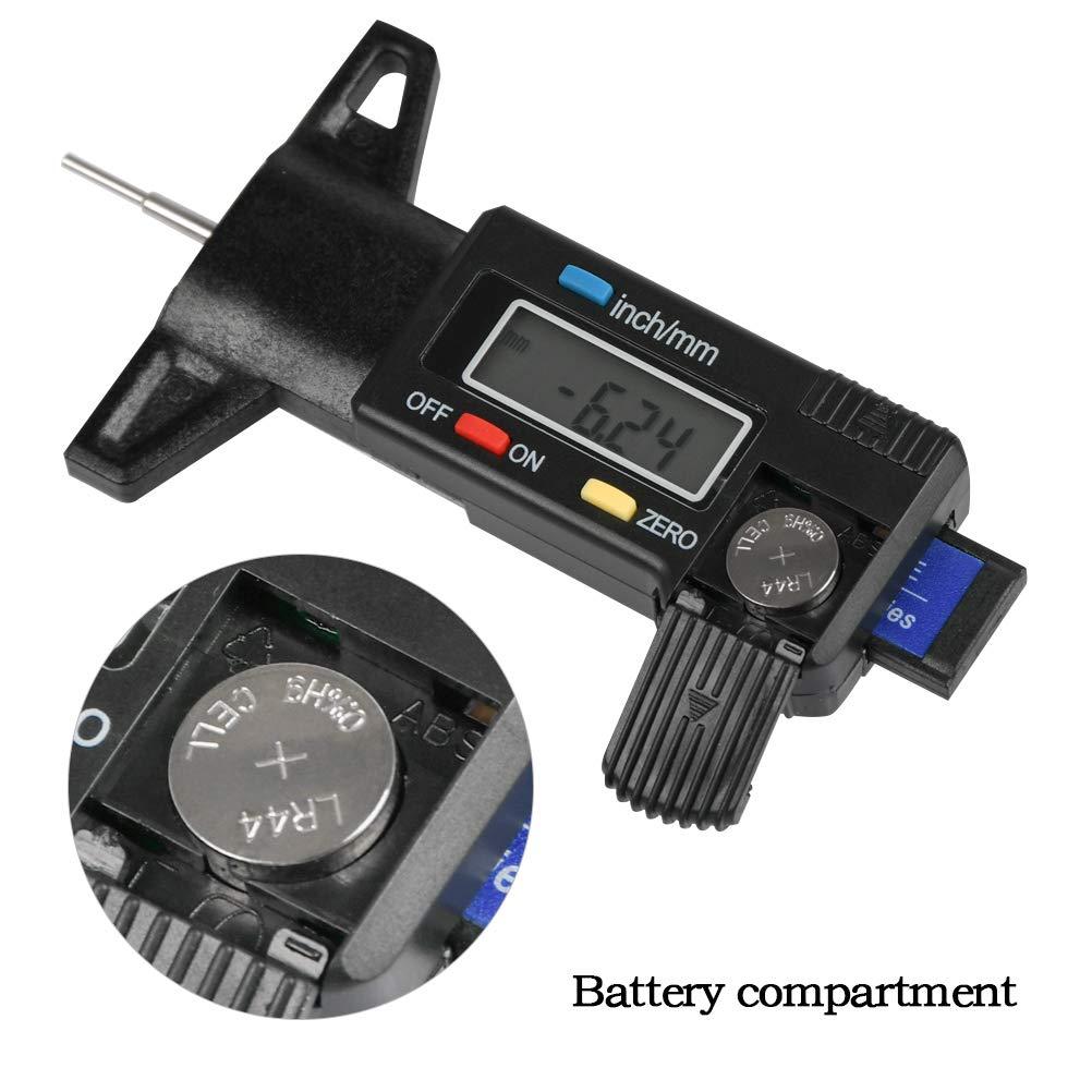 Universale 0-25.4mm con LCD Schermo inch//mm con Batterie YANSHON Profondimetro Misuratore Pneumatico Digitale per Spessimetro Pneumatici Auto Misuratori profondit/à Digitale Misurartore Battistrada
