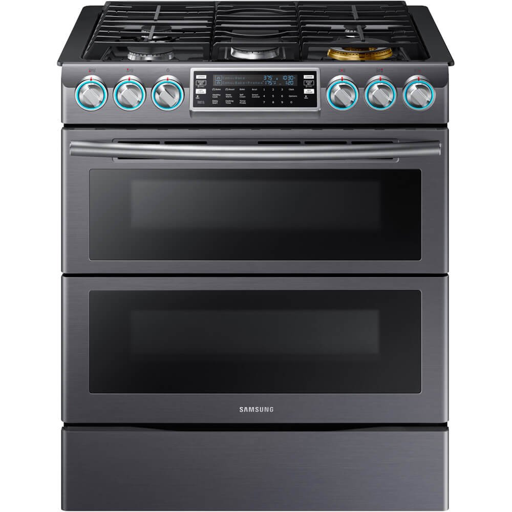 Samsung Appliance NX58K9850SG 30' Slide-in Gas Range with Sealed Burner Cooktop, 5.8 cu. ft. Primary Oven Capacity, in Black Stainless Steel NX58K9850SG/AA