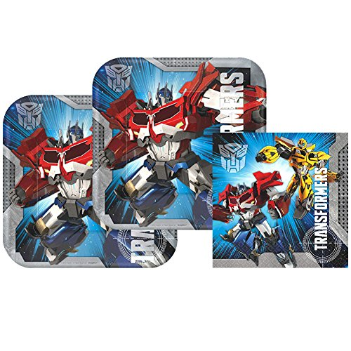 Transformers Birthday Party Supply Pack for 16 Guests | Amscan Transformers Plates And Napkins Set | 16 Lunch Plates and 16 Lunch Napkins | Optimus Prime And Bumblebee Birthday Party Supplies