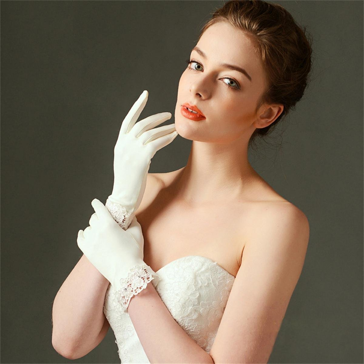 MissDaisy Dull Matte Satin Bride Gloves Ivory Lace Edge Party Short Dress Gloves by MissDaisy (Image #2)