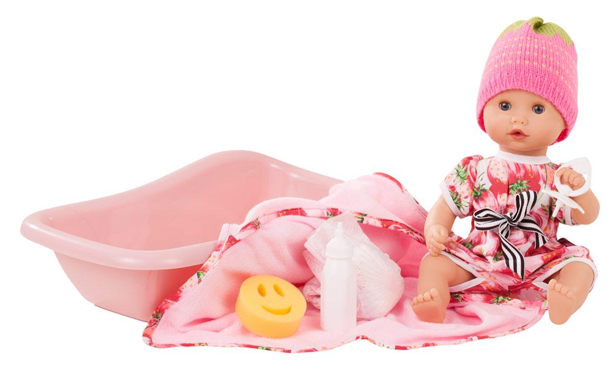 Götz Puppe Sleepy Aquini Girl Strawberry Fields – 33 cm große Badepuppe, ohne Haare, Blaue Schlafaugen, Spielzeug für Mädchen ab 3 Jahren (9-teiliges Set)