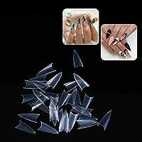 Fake Nail, 500Pcs Stilettos Sharp False Nail Art Tips Salon Manicure Decoration (Transparent)(Transparent)