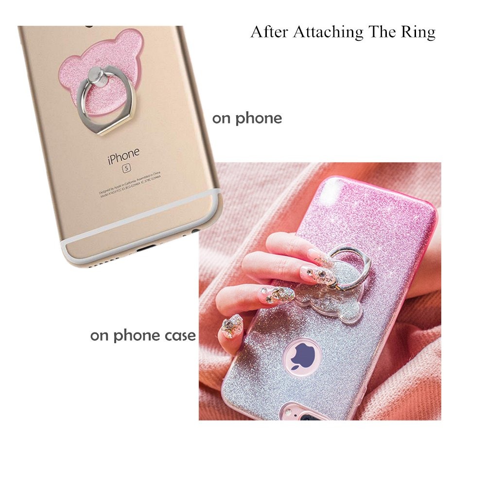 Phone Ring Holder,FANSONG 360 Rotate Finger Grip Glitter Stand Holder Ring,Car Mount Ring Grip for iPhone 6s plus//7 plus 2 Pack 2xPC0025-04 Samsung Galaxy A5,S7,S8,S8 Plus Smartphone Ring Stent Pink Bear
