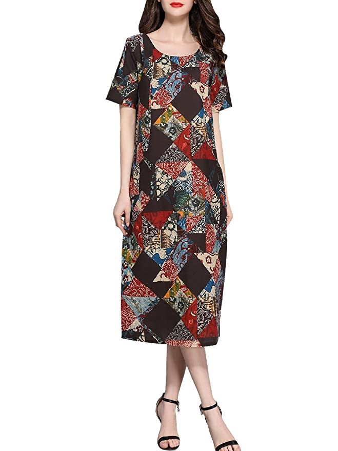 Amtivaya Casual Print Cotton Midi Dress for Women Bohemian PocketH8915 M-5XL at Amazon Womens Clothing store: