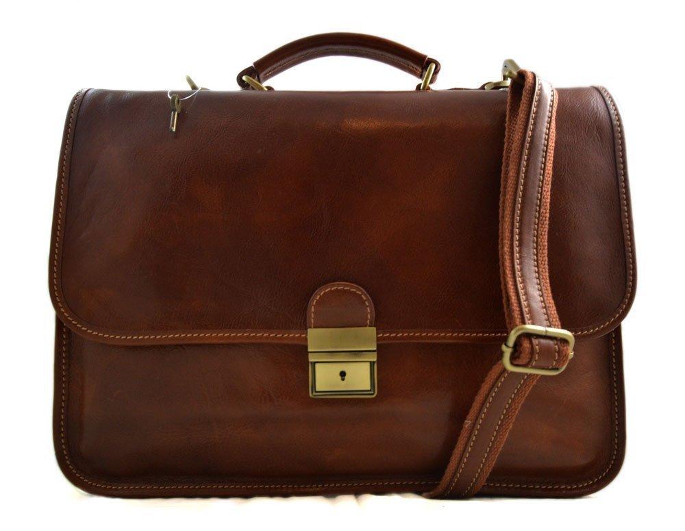 Brown leather briefcase mens woman office briefcase handbag leather shoulderbag messenger business bag satchel document briefcase