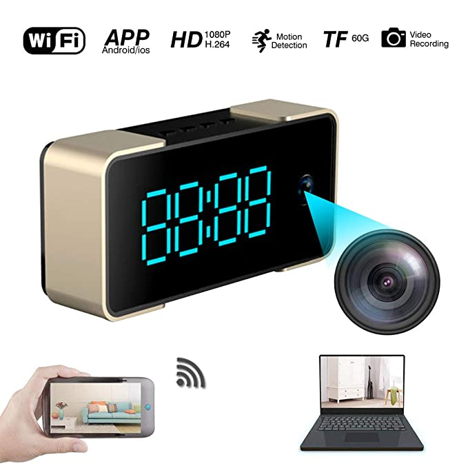 IDABAY WI-S62, Reloj con cámara Oculta Cámara de Reloj WiFi de Fuente Grande, HD1080P / H.264, TF Max64G, aplicación: WisdomEye, Alarma/detección de ...
