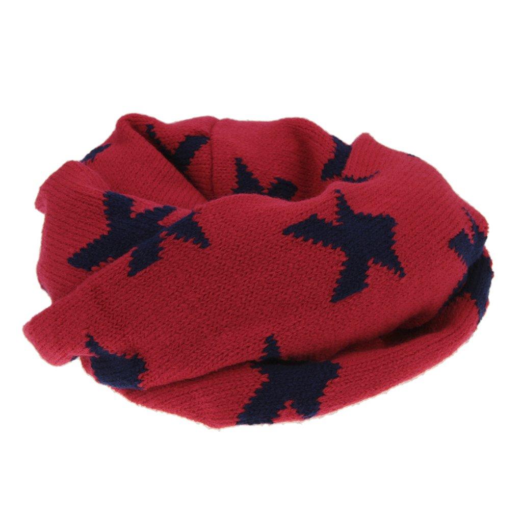 RUIXIA Bufanda Mignon para niños y bebé Lana Snood bebé Tour de pañuelo Estrella Collar Caliente de otoño y de Invierno para 1.5–8años niños Regalo Navidad, Rojo