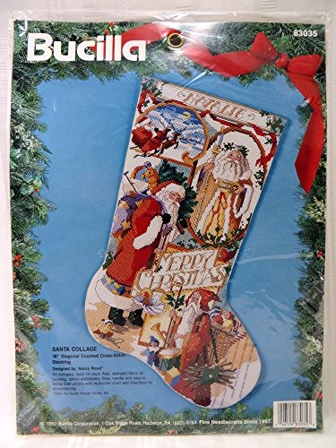 BUCILLA 1993 Santa Collage Christmas Stocking Counted Cross Stitch Embroidery KIT 18'' by Bucilla